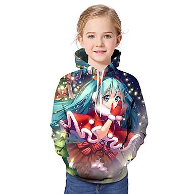 baratos Moletons Para Meninas-Infantil Bébé Para Meninas Activo Básico Papai Noel Geométrica Galáxia Estampado Estampado Manga Longa Moleton & Blusa de Frio Arco-íris