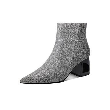 voordelige Dameslaarzen-Dames Laarzen Blokhak Gepuntte Teen Elastische stof Winter Paars / Grijs