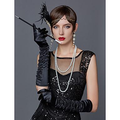The Great Gatsby Čarlston 1920s Gatsby Traka za kosu u stilu 20-ih Setovi dodataka za kostime Žene Rese Kostim Šeširi Igazgyöngy nyaklánc Crna + Zlatna / White+Red / Masnicama Vintage Cosplay Party