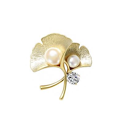 hesapli Moda Broşlar-Kadın's Broşlar Klasik Leaf Shape Değerli Lüks moda Zarif Renkli İnci Simüle Elmas Broş Mücevher Altın Uyumluluk Düğün Nişan Hediye Çalışma Söz vermek