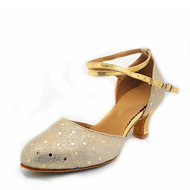 baratos Shall We® Sapatos de Dança-Mulheres Pele de Carneiro Sapatos de Dança Moderna MiniSpot Salto Salto Cubano Personalizável Dourado / Prata