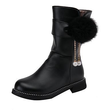 halpa Lasten saappaat-Tyttöjen PU Bootsit Suuret lapset (7 vuotta +) Kengät kukkaistytölle POM-POM Musta / Valkoinen / Pinkki Talvi / Säärisaappaat