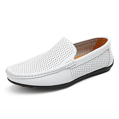 Erkek Ayakkabı PU Yaz Mokasen & Bağcıksız Ayakkabılar Dış mekan için Siyah / Beyaz / Kahverengi