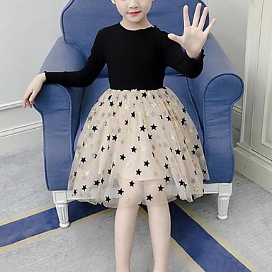 baratos Vestidos para Meninas-Infantil Para Meninas Estilo bonito Moda de Rua Retalhos Com Transparência Patchwork Manga Longa Vestido Preto