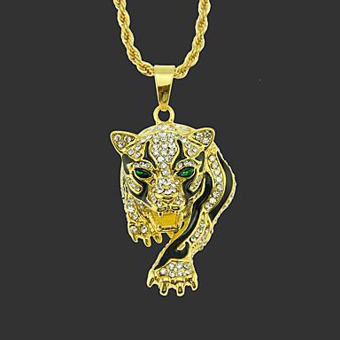 voordelige Herensieraden-Heren Hangertjes ketting lange ketting Klassiek Tiger Uniek ontwerp Modieus Verguld Kromi Goud Zilver 75 cm Kettingen Sieraden 1pc Voor Straat