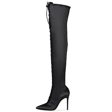 voordelige Dameslaarzen-Dames Laarzen Naaldhak Gepuntte Teen Satijn Dij-hoge laarzen Brits / minimalisme Lente & Herfst / Winter Zwart