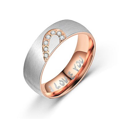 billige Motering-Herre / Dame Parringer / Band Ring / Ring 1pc Svart / Rose Gull Titanium Stål Sirkelformet Vintage / Grunnleggende / Mote Gave / Daglig / Love Kostyme smykker / Hjerte / Tail Ring