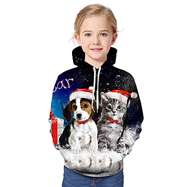 baratos Moletons Para Meninas-Infantil Bébé Para Meninas Activo Básico Gato Cachorro Papai Noel Geométrica Galáxia Estampado Estampado Manga Longa Moleton & Blusa de Frio Arco-íris