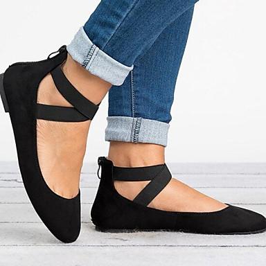 Kadın's Düz Ayakkabılar Düz Taban Yuvarlak Uçlu Toka Süet Yaz Siyah / Leopar / Kahverengi