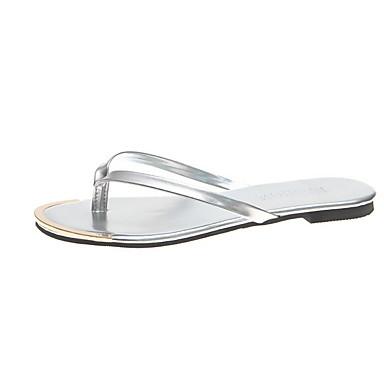 voordelige Damespantoffels & slippers-Dames Slippers & Flip-Flops Platte hak Ronde Teen PVC Zomer Zwart / Luipaard / Wit