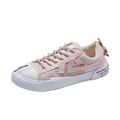 Kadın's Spor Ayakkabısı Düz Taban PU / Elastik Kumaş Sonbahar / İlkbahar yaz Siyah / Pembe / Bej