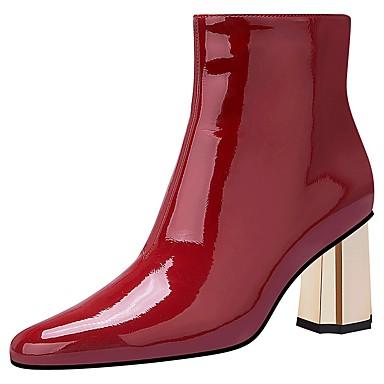 voordelige Dameslaarzen-Dames Laarzen Blokhak Gepuntte Teen PU Winter Zwart / Rood Licht