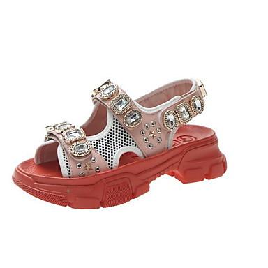 Kadın's Sandaletler Dolgu Topuk Yuvarlak Uçlu Taşlı PU Yaz Siyah / Turuncu / Sarı