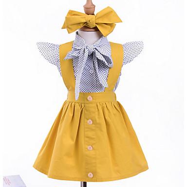 baratos Conjuntos para Meninas-Bébé Para Meninas Activo Casual Houndstooth Estampado Manga Curta Padrão Conjunto Amarelo