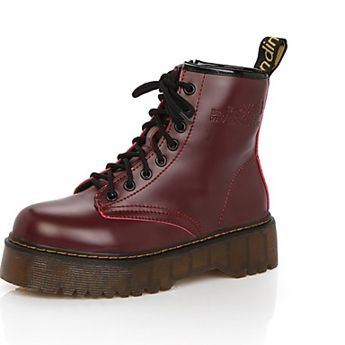 povoljno Ženske čizme-Žene Čizme Creepersice Okrugli Toe PU Čizme do pola lista Jesen zima Crn / Obala / Burgundac