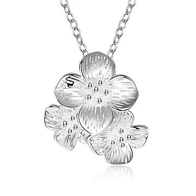 billige Mote Halskjede-Dame Anheng Halskjede geometriske Blomst Mote Sølvplett Sølv 45+5 cm Halskjeder Smykker 1pc Til Daglig Ferie