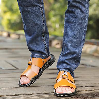 baratos Super Ofertas-Homens Sapatos Confortáveis Microfibra Primavera Verão Sandálias Preto / Branco / Amarelo