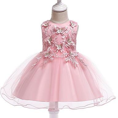 povoljno Haljine za djevojčice-Djeca Djevojčice Rukav leptir Životinja Bez rukávů Haljina Blushing Pink