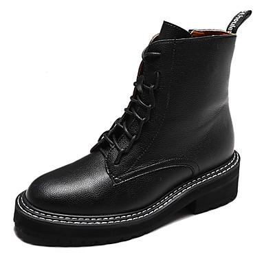 voordelige Dameslaarzen-Dames Laarzen Plateau Ronde Teen PU Herfst winter Zwart