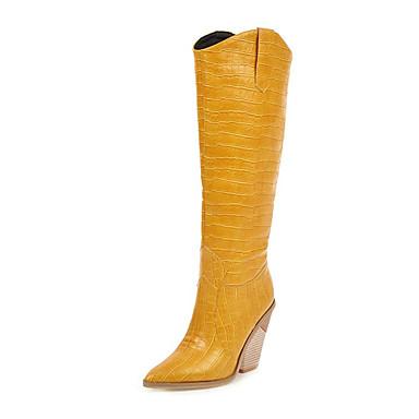 voordelige Dameslaarzen-Dames Laarzen Heterotypic Heel Gepuntte Teen PU Knielaarzen Herfst winter Zwart / Wit / Geel