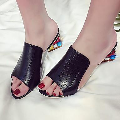 voordelige Damespantoffels & slippers-Dames Slippers & Flip-Flops Lage hak Peep Toe PU Lente zomer Zwart / Wit / Blauw