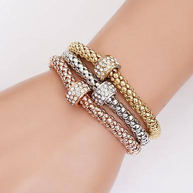 abordables Bracelet-3pcs Parure Bracelet Femme Classique Précieux Mode Bracelet Bijoux Dorée pour Quotidien