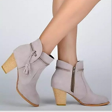 povoljno Ženske čizme-Žene Čizme Niska potpetica Krakova Toe Brušena koža Čizme gležnjače / do gležnja Ljeto Sive boje