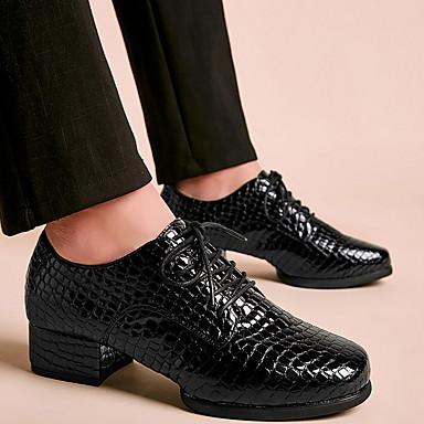 billige Jazz-sko-Herre Dansesko Lær Jazz-sko Høye hæler Tykk hæl Svart