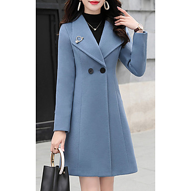 cheap New Arrivals-Women's Daily Spring &  Fall Long Coat, Solid Colored Straight Collar Long Sleeve Wool Blend Fuchsia / Blue / Green