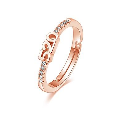 levne Fashion Ring-Dámské Prsten 1ks Růžové zlato / Stříbrná Měď Kulatý Vintage / Základní / Módní Dar Kostýmní šperky