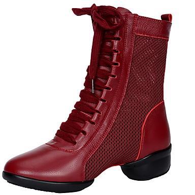 billige Dance Boots-Dame Dansesko Netting Dansestøvler Flate Flat hæl Svart / Rød