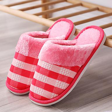 voordelige Damespantoffels & slippers-Dames Slippers & Flip-Flops Platte hak Ronde Teen Imitatiebont Informeel Wandelen Winter Rood / Roze