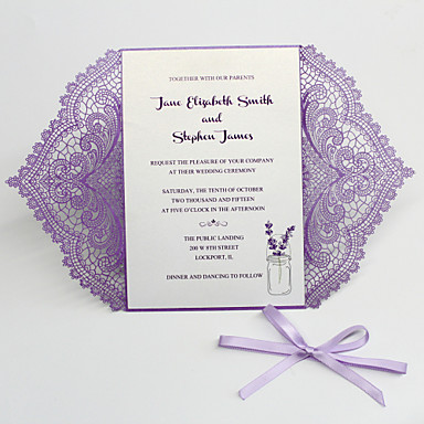 """cheap Wedding Invitations-Flat Card Wedding Invitations 50 pcs - Invitation Cards / Thank You Cards / Response Cards Artistic Style / Bride & Groom Style / Floral Style Pearl Paper 5""""×7 ¼"""" (12.7*18.4cm)"""