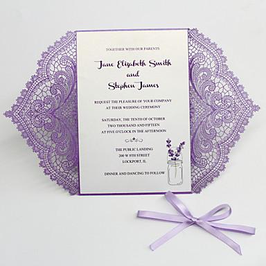 """رخيصةأون دعوات الزفاف-بطاقة مسطح دعوات الزفاف 50 قطعة - بطاقات الدعوة / بطاقات الشكر / بطاقات استجابة نمط فني / نمط العروس&العريس / الأزهار ستايل أوراق لؤلؤة 5 """"× 7 ¼"""" (12.7 * 18.4cm)"""