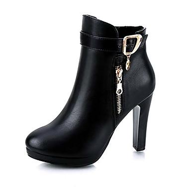 voordelige Dameslaarzen-Dames Laarzen Kegelhak Ronde Teen PU Herfst winter Zwart