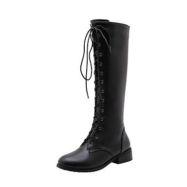 povoljno Ženske čizme-Žene Čizme Kockasta potpetica Okrugli Toe PU Jesen zima Crn / Bež