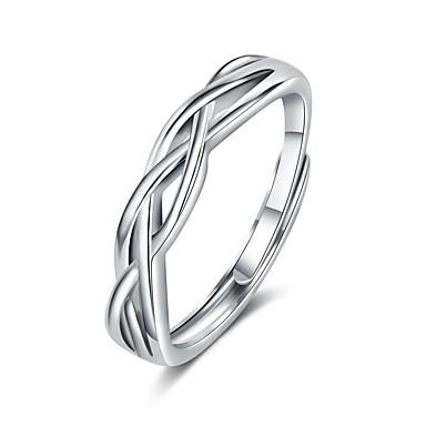 voordelige Dames Sieraden-Voor Stel Ringen voor stelletjes Ring 1pc Wit Zilver Koper Cirkelvormig Standaard Koreaans Modieus Bruiloft Lahja Sieraden Golf