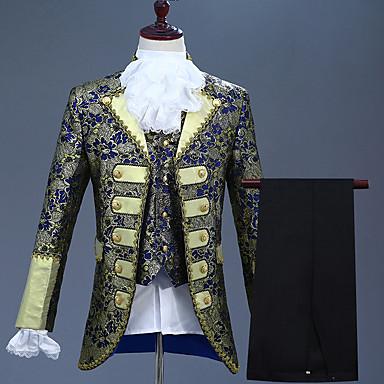 Prins Retro / vintage Kostymer i middelalderstil Jakke Korsett Bukser Drakter Herre Kostume Lilla / Blæk Blå / Havblå Vintage Cosplay Fest Langermet Pantsuit / Frakk / Vest / Vest / Frakk