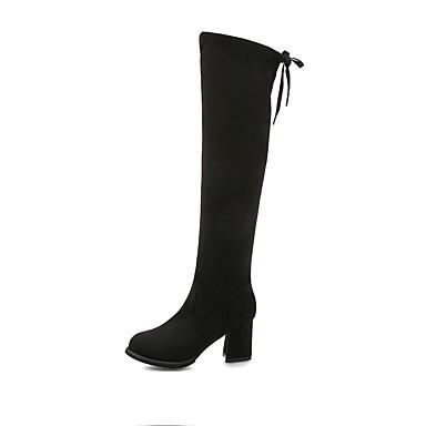 voordelige Dameslaarzen-Dames Laarzen Blok hiel Ronde Teen Kanten stiksel Satijn Over de knie laarzen Informeel Wandelen Herfst winter Zwart / Bruin