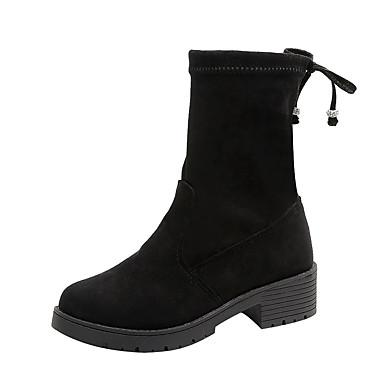 voordelige Dameslaarzen-Dames Laarzen Blokhak Ronde Teen Denim Herfst Zwart