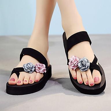 voordelige Damespantoffels & slippers-Dames Slippers & Flip-Flops Platte hak Ronde Teen PU Zomer Blauw / Grijs