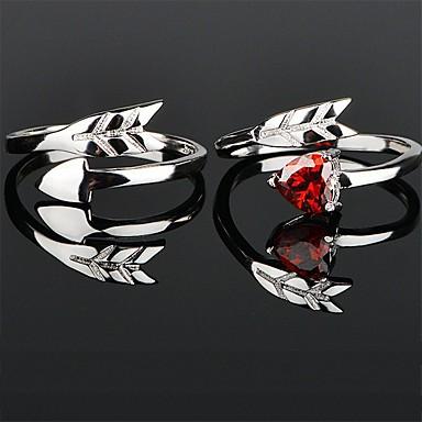 voordelige Dames Sieraden-Voor Stel Ringen voor stelletjes Ring 1pc Zilver Rood Koper Cirkelvormig Standaard Koreaans Modieus Bruiloft Verloving Sieraden Sweetheart Hart