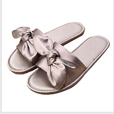 voordelige Damespantoffels & slippers-Dames Slippers & Flip-Flops Platte hak Ronde Teen Strik PVC Zomer Zwart / Licht Groen / Marine Blauw