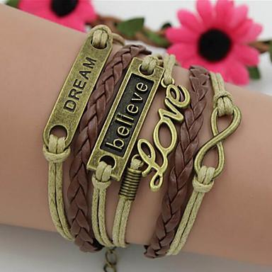abordables Bracelet-Bracelet Multi Tour Bracelets Vintage Femme Tressé Amour Précieux Rétro Vintage Bracelet Bijoux Marron Forme Géométrique pour Quotidien Plein Air