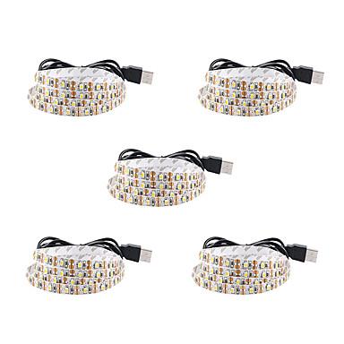 baratos Faixas de Luzes LED-1m Faixas de Luzes LED Flexíveis 60 LEDs SMD3528 Branco Quente / Branco / Vermelho Impermeável / Festa / Decorativa 5 V 5pçs