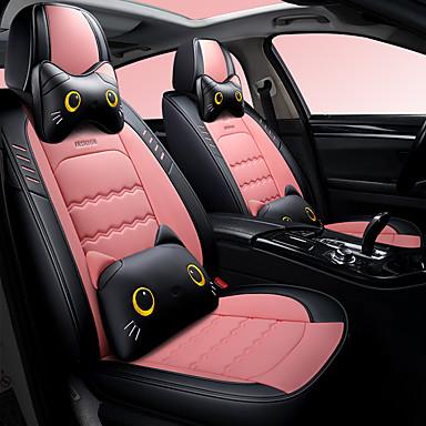 voordelige Auto-interieur accessoires-5 stks / set cartoon leuke vijf autostoelkussens vier seizoenen universele autostoel cover linnen gemengd compatibel airbag inclusief 2 hoofdkussen en taille rest