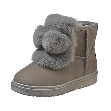 voordelige Dameslaarzen-Dames Laarzen Platte hak Ronde Teen Polyester Winter Zwart / Grijs
