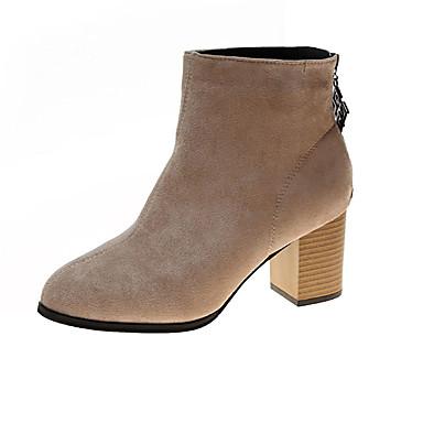 voordelige Dameslaarzen-Dames Laarzen Blokhak Ronde Teen PU Kuitlaarzen minimalisme Herfst Zwart / Khaki