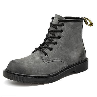 voordelige Dameslaarzen-Dames Laarzen Platte hak Ronde Teen Leer Klassiek / Vintage Winter / Herfst winter Zwart / Grijs