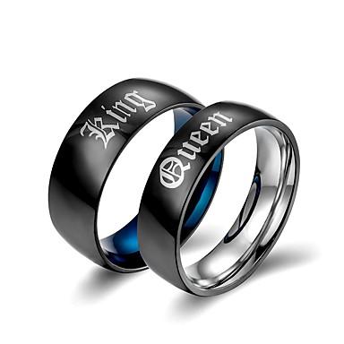 voordelige Dames Sieraden-Voor Stel Bandring 2pcs Zwart Titanium Statement Klassiek Europees Bruiloft Verloving Sieraden Letter